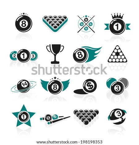 Billiards and snooker icons set. - stock vector