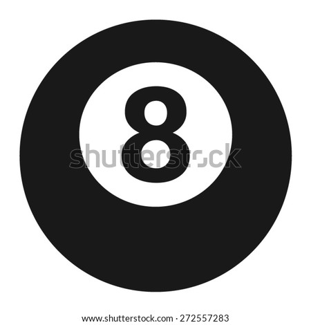 Billiards 8-ball pool flat icon for sports apps and websites - stock vector