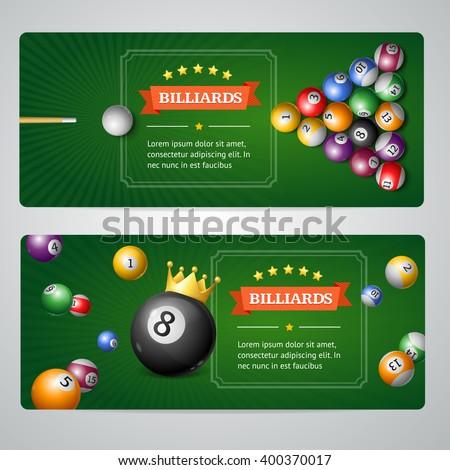 Billiards Banners Set on Grey. Horizontal. Vector illustration - stock vector