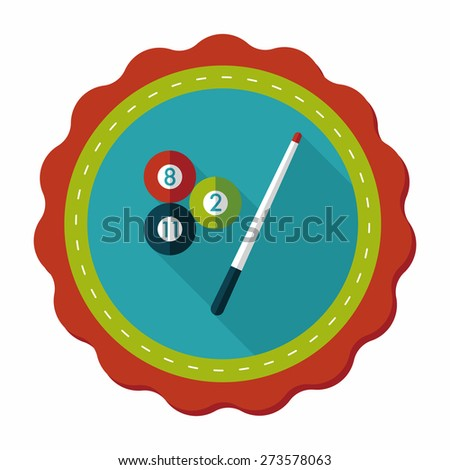 billiards flat icon with long shadow,eps10 - stock vector
