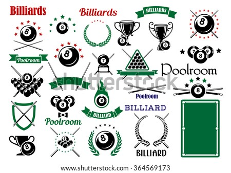 Billiards game and poolroom design elements for sporting emblems templates  with crossed cues, table, trophies and balls with stars and flame, heraldic shield, laurel wreaths and ribbon banners  - stock vector