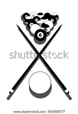 billiards illustration - stock vector