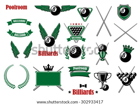 Billiards, pool and snooker game items with balls, cues, triangle, table, trophies, shield crowns, wings, wreath, ribbon banners and headers - stock vector