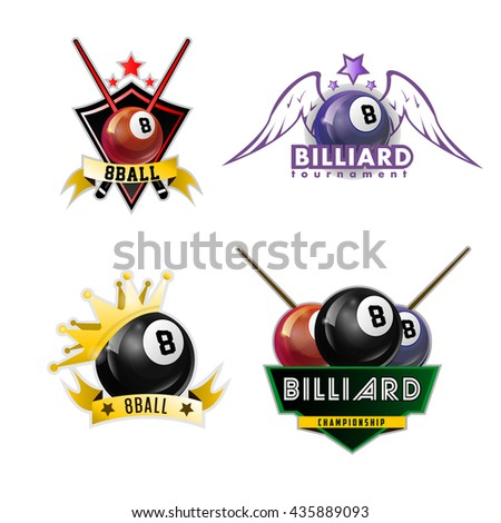 Billiards, pool and snooker sport logos set for poolroom emblems design with balls, stars, crowns. Vector illustration. Isolated on white. - stock vector