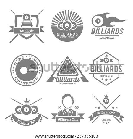 Billiards tournament snooker championship pool club black label set isolated vector illustration - stock vector