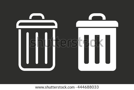 Bin vector icon. White illustration isolated on black background for graphic and web design. - stock vector