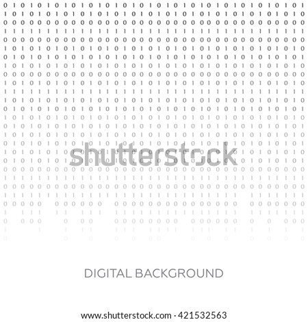 Binary code black and white background with digits on screen. Algorithm binary, data code vector - stock vector