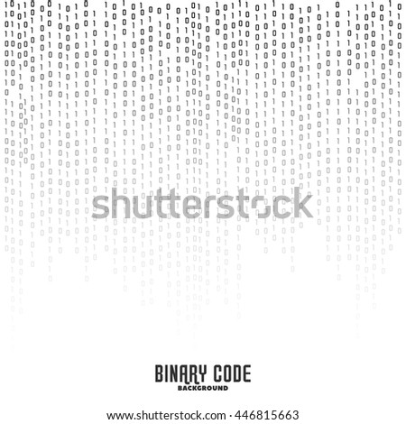 Binary code black and white background with digits on screen. Encryption. Coding. Program code. Algorithm. Vector background. Rows of numbers. - stock vector