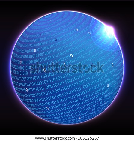 Binary globe - stock vector