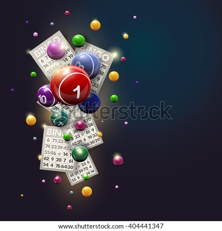 Bingo Balls and Cards Design on a Glowing Blue Background. Bingo balls and cards are flying on shiny background. Bingo or lottery vector design. - stock vector