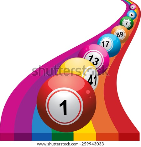 Bingo Balls Rolling on a Colourful Rainbow - stock vector