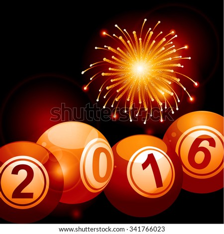 Bingo Lottery Balls 2016 Over Festive Glowing Background with Fireworks - stock vector