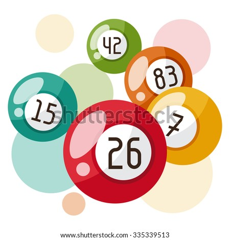 Bingo or lottery game illustration with balls. - stock vector