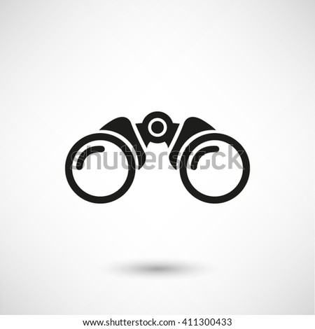 Binocular - black vector  icon with shadow - stock vector