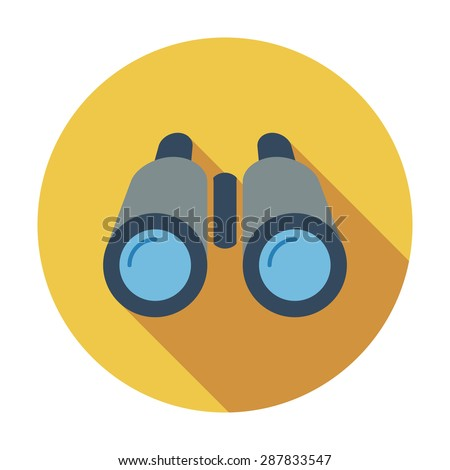 Binoculars. Flat icon for mobile and web applications. Vector illustration. - stock vector