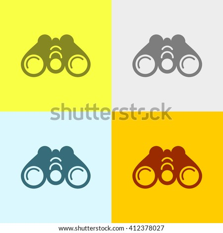 Binoculars Icon on Four Different Backgrounds. Eps-10. - stock vector