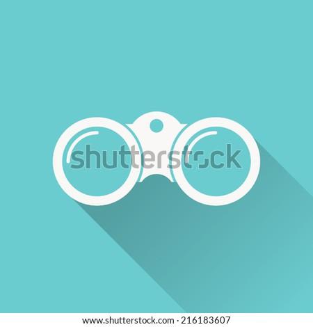 binoculars icon , vector illustration , flat design - stock vector