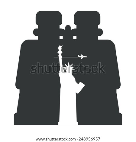 Binoculars on the silhouette of the Statue of Liberty - stock vector