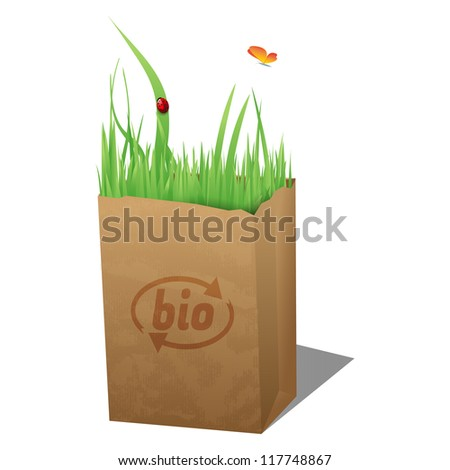 Bio bag/Recycled sopping paper bag with Bio sign, grass,ladybug and butterfly - stock vector