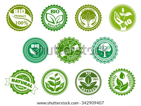 Bio, eco, organic and natural products green labels with tree, leaves, pant, apple, hands and water drop, framed by round frames. For healthy food and drink theme design - stock vector