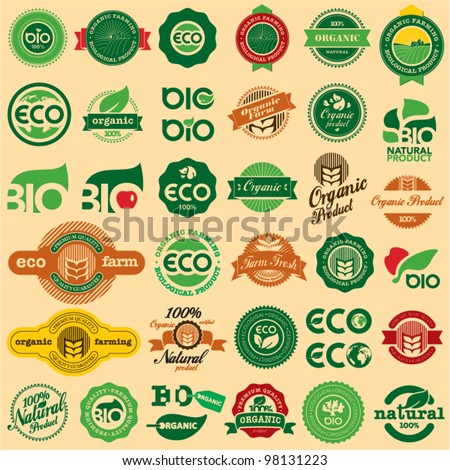 BIO & ECO, ORGANIC Labels Collection. Natural product sign set. - stock vector