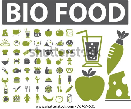 bio food icons, signs, vector illustrations - stock vector