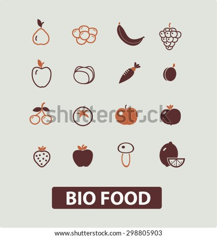bio, food, vegetables, fruits icons, signs, illustrations set, vector - stock vector