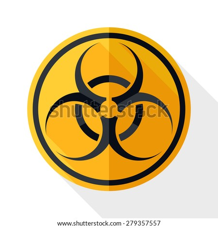 Bio hazard icon with long shadow on white background - stock vector