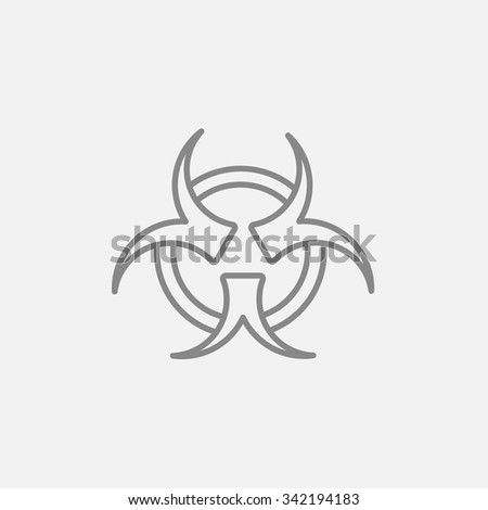 Bio hazard sign line icon for web, mobile and infographics. Vector dark grey icon isolated on light grey background. - stock vector