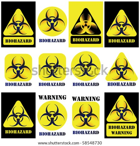 Bio-hazard vector sign, symbol set isolated on white and black - stock vector