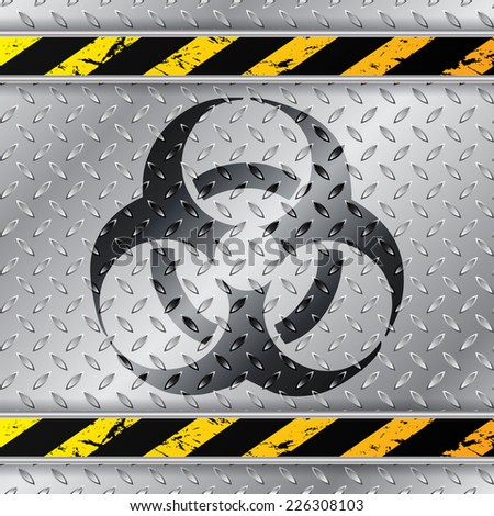 Bio hazzard warning sign on metallic plate with triped warning sign - stock vector