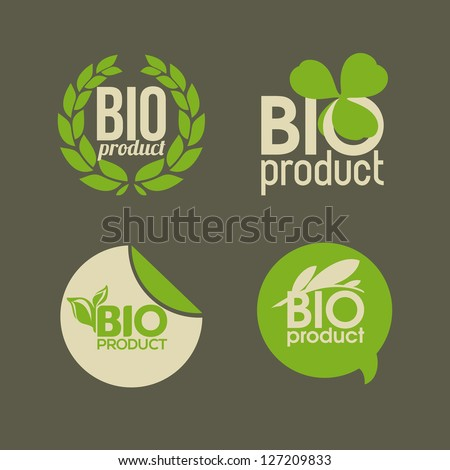 Bio product - vector labels and badges - stock vector