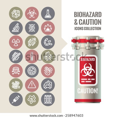 Biohazard and Caution Icons Collection. Isolated on White Background. - stock vector