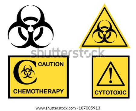 Biohazard, Cytotoxic and Chemotherapy symbols icons. Vector file saved as EPS AI8, no effects, easy edit and print. - stock vector