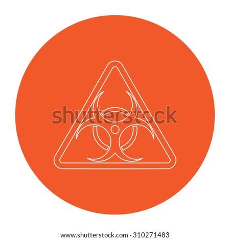 Biohazard. Flat outline white pictogram in the orange circle. Vector illustration icon - stock vector