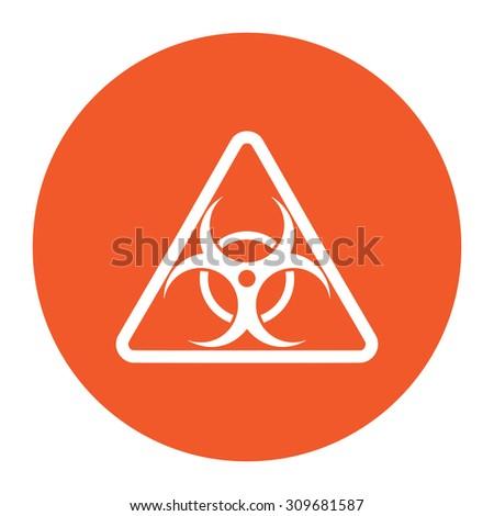 Biohazard. Flat white symbol in the orange circle. Vector illustration icon - stock vector