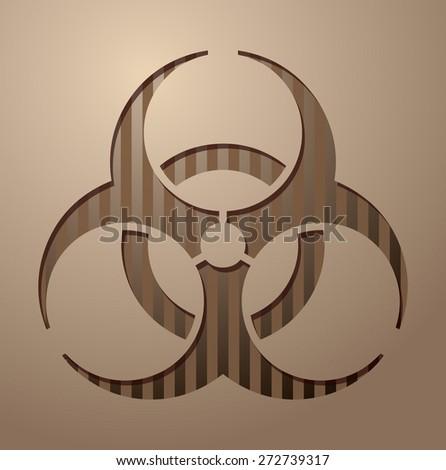 Biohazard Paper Cutout Sign, Vector Illustration.  - stock vector