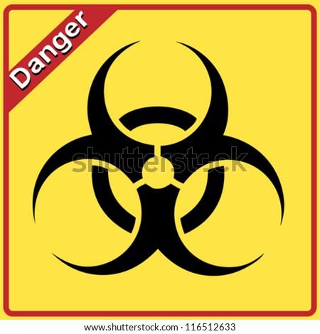 Biohazard sign. Yellow and black bio hazard - stock vector