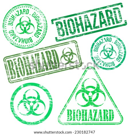 Biohazard stamps. Different shape vector rubber stamp illustrations  - stock vector