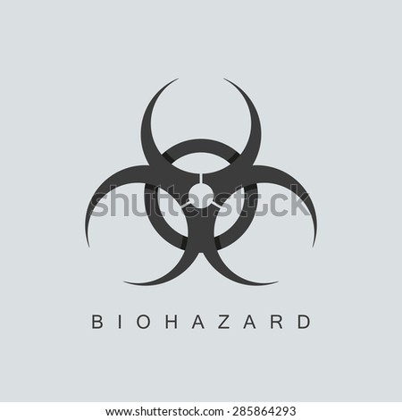 biohazard symbol or sign. isolated on grey background. overlapping technique. vector illustration - stock vector