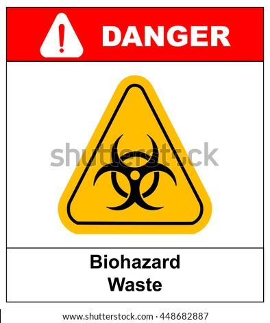 Biohazard symbol sign of biological threat alert, black yellow triangle signage text, isolated - stock vector