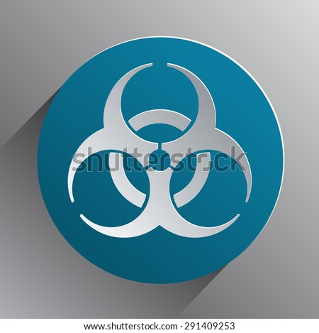 Biohazard White Sign on a Round Blue Background, Vector Illustration.  - stock vector