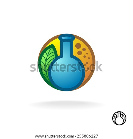 Biological chemistry sign. Retort with green leaves and bubbles. Natural ecological extracts symbol. - stock vector