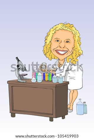 Biologist conducting research to test tubes - stock vector