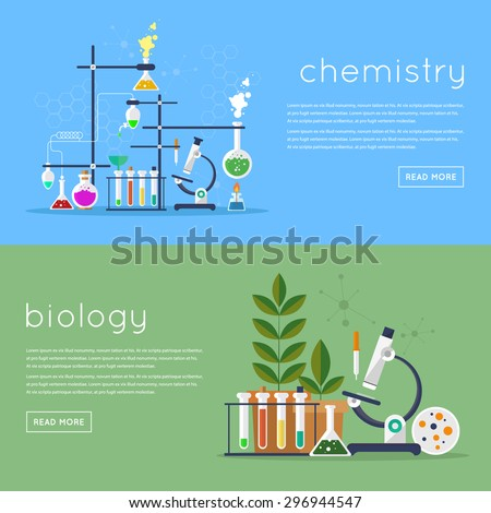 Biology laboratory workspace and science equipment concept. Chemistry laboratory workspace and science equipment concept. Flat design vector illustration. - stock vector