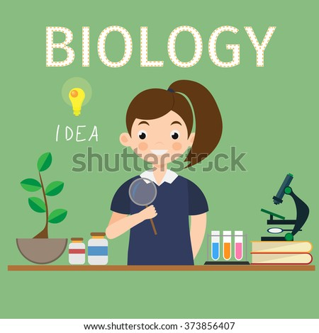 Biology research vector work space and science equipment concept. - stock vector