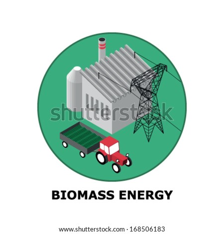 Biomass Energy, Renewable Energy Sources - Part 5 (both circle and square version is available in the vector file) - stock vector
