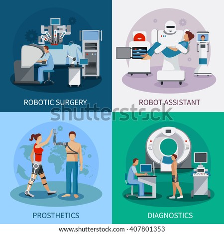 Bionic 2x2 design concept with robotic surgery  diagnostic equipment orthopedic prosthetics compositions flat vector illustration - stock vector