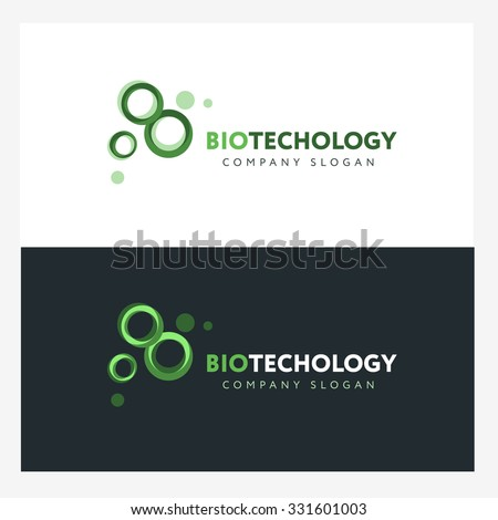 Biotechnology logo design template with abstract green cells. Science company badge concept - stock vector
