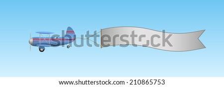 Biplane aircraft pulling advertisement banner - stock vector